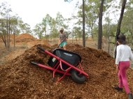 Kids working with woodchip